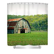 Riverbottom Barn In Spring Shower Curtain