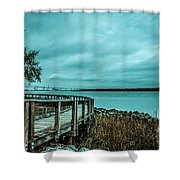 Riverfront Park Boardwalk Shower Curtain