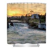 Riverfront Park Sunrise Shower Curtain