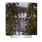 River's Winter Pine Shower Curtain