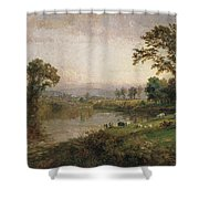 Riverscape In Early Autumn Shower Curtain