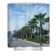 Riverside Promenade Park And Skyscrapers In Downtown Xiamen City Shower Curtain