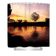 Riverwalk Sunrise  Shower Curtain