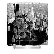 Riveters On The Empire State Building Shower Curtain