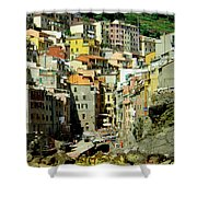 Riviera Hill Town Italy Shower Curtain