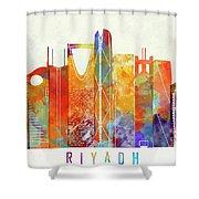 Riyadh Landmarks Watercolor Poster Shower Curtain