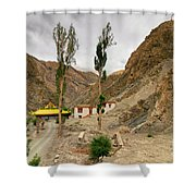 Rizong Monastery With View Of Himalayan Mountians Leh Ladakh Jammu And Kashmir India Shower Curtain