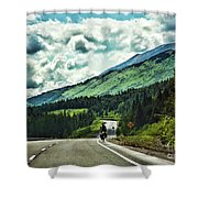 Road Alaska Bicycle  Shower Curtain