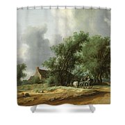 Road In The Dunes With A Passenger Coach After The Rain1631 Shower Curtain