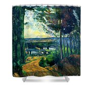 Road Leading To The Lake, By Paul Cezanne, Circa 1880, Kroller-m Shower Curtain