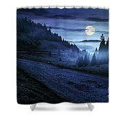 Road Near Foggy Forest In Mountains At Night Shower Curtain