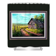 Road On The Farm Haroldsville L B With Decorative Ornate Printed Frame. Shower Curtain