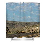 Road Through New Mexico Desert High Noon Shower Curtain
