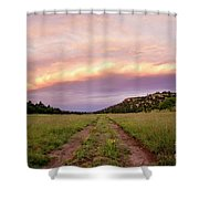 Road Through New Mexico Landscape At Sunrise Shower Curtain