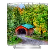 Road To The Covered Bridge Shower Curtain