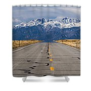 Road To The Mountains Panorama Shower Curtain