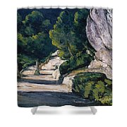 Road With Trees In Rocky Mountains Shower Curtain
