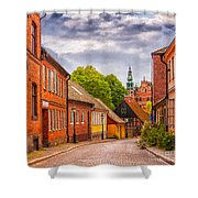 Roads Of Lund Digital Painting Shower Curtain