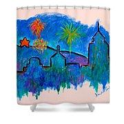 Roanoke In Blue Shower Curtain