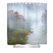 Roanoke River And Fog Shower Curtain