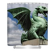 Roaring Winged Dragon Sculpture Of Green Sheet Copper Symbol Of  Shower Curtain