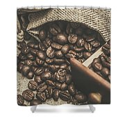 Roasted Coffee Beans In Close-up  Shower Curtain