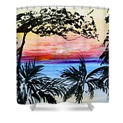 Roatan Sunset Shower Curtain