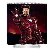 Robert Downey Jr. As Iron Man  Shower Curtain