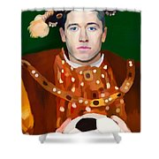 Robert Lewandowski As King Of Soccer Shower Curtain