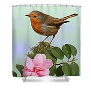 Robin And Camellia Flower Shower Curtain