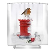Robin And Postbox Shower Curtain