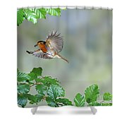 Robin Flying To Nest Shower Curtain