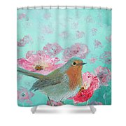 Robin In A Field Of Poppies Shower Curtain
