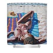 Robin At The Beach Shower Curtain