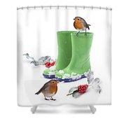 Robins And Green Wellies Shower Curtain