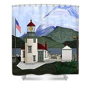 Robinson Point With Mount Rainier Shower Curtain