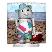 Robo-x9 At The Beach Shower Curtain