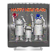 Robo-x9 New Years Celebration Shower Curtain
