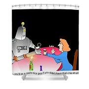 Robot Dining Cartoon Shower Curtain
