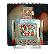 Robot Pop Art R-1 Shower Curtain