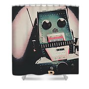 Robotic Mech Under Vintage Spotlight Shower Curtain