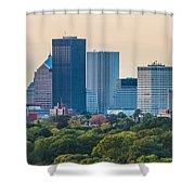 Rochester Ny Skyline At Dusk Shower Curtain