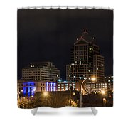 Rochester Skyline From Freddie-sue Bridge Shower Curtain