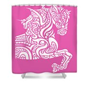 Rocinante Horse - White On Pink Shower Curtain