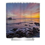 Rock And Piedras Blancas Lighthouse Shower Curtain