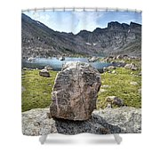 Rock At Abyss Lake Shower Curtain