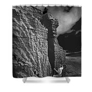 Rock Climber Monochrome Landscape  Shower Curtain