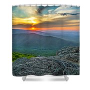 Rock Climbing At Ravens Roost Pano Shower Curtain