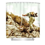 Rock Climbing Mountaineer Shower Curtain