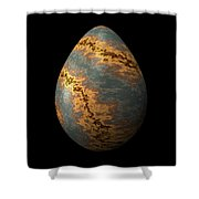 Rock Egg With Warm Yellow Lines Shower Curtain